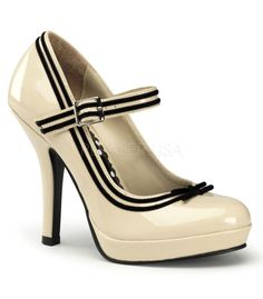 Pin Up Couture Secret Cream Patent Baby Doll Pumps