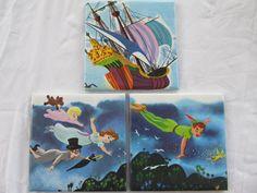 Set of 3 ceramic coasters made with real vintage Disney's Peter Pan book by CupcakesAndGeeks -- $17
