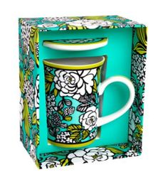 Vera Bradley: Porcelain Mug with Cover in Island Blooms
