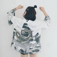 Women Japanese Kimono Fly Dragon Retro Cosplay Yukata Haori sold by HarajukuFamily. Shop more products from HarajukuFamily on Storenvy, the home of independent small businesses all over the world. Kimono Shirt, Kimono Outfit, Kimono Cardigan, Kimono Jacket, Kimono Fashion, Motif Kimono, Kimono Design, Geisha, Yukata