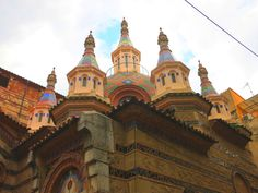 ornate towers with mosaics on the Church of Sant Roma in Lloret de Mar