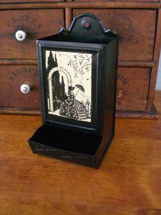 Antique Vintage Tin Match Tea Bag Holder by redshedvintage on Etsy, $12.00