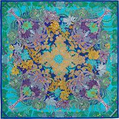 Carré 90 x 90 cm Hermès | Maîtres de la CW08 Turquoise Ocre Violet