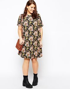 HANNAH Enlarge ASOS CURVE Exclusive T-Shirt Dress In Folk Floral