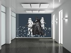 """Star Wars Wall Murals star wars themed mural. in other words bo's """"man-cave"""" would"""