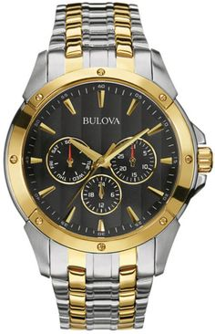 Zales Men's Bulova Two-Tone Chronograph Watch with Black Dial (Model: 98C120)