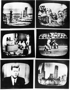 The first transmission to Europe, with six monitors of television programs, from America via the Telstar satellite.  July 23, 1962.