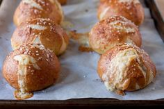 Cheddar-filled soft pretzel rolls
