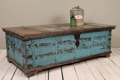 Jodhpur Blue Reclaimed Salvaged Antique Indian Wedding Trunk Coffee Table Storage Chest on Etsy, $599.00