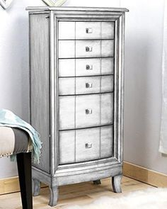 Natalie Jewelry Armoire Silver Leaf
