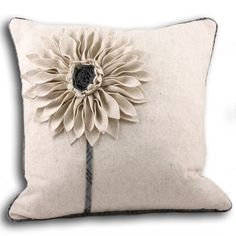 Paoletti Clyde Applique Flower Cushion Cover, Natural/Grey, 45 x 45 Cm