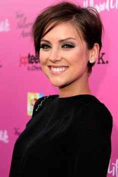 Someone told me I look like this person. Her name is Jessica Stroup. I'd never heard of her, but as soon as I looked her up, I became obsessed with her hair. I've gone full pixie before and am strongly considering this modified version.