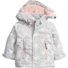 Padded jacket ❤ liked on Polyvore featuring outerwear, jackets, zip jacket, fleece lined hooded jacket, white zipper jacket, print jacket and fleece lined jacket