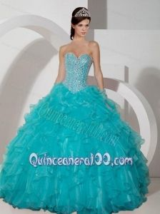 Luxurious Ruffled Quinceanera Dress in Yellow Green And Aqua Blue ...
