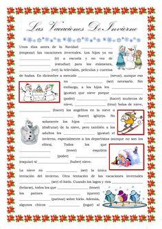 Las vacaciones de invierno, verbos, Navidad