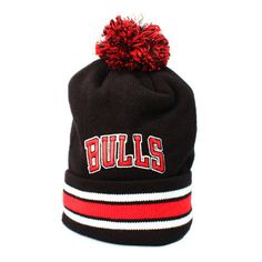 123SNAPBACKS Chicago Bulls Arch Logo Stripe Cuffed Pom Beanie... (43 AUD) ❤ liked on Polyvore featuring men's fashion, men's accessories, men's hats, black, mens red hats, mens knit beanie hats, mens beanie hats, mens pom pom hat and mens knit hats