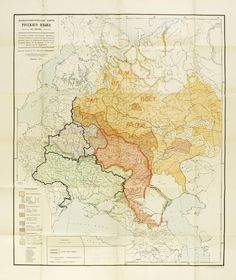 A map of the East Slavic languages and dialects, with some current borders (1914). Диалекты восточнославянских языков в 1914 году.