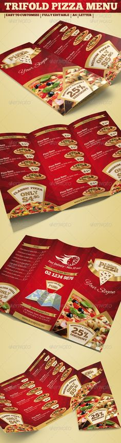 TRIFOLD BROCHURE PIZZA MENU. Get it customized as per your needs in only $22.00 http://www.devloopers.com/design/food-menu/pizza-menu/trifold-brochure-pizza-menu