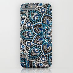 Blue mandala iPhone Skin by Elena Morgun - iPhone X Fluffy Phone Cases, Bling Phone Cases, Diy Phone Case, Iphone Cases, Dot Art Painting, Mandala Painting, Mandala Dots, Iphone Skins, Biscuit