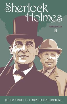 MY FAVORITE ARTIST FOR DOCTOR WHO AND OTHER BRITISH ICONS!! Sherlock Holmes and Doctor Watson  Jeremy Brett and by DadManCult, $12.99 Jeremy Brett Sherlock Holmes, Detective Sherlock Holmes, Sherlock John, Detective Series, Sherlock Fandom, Jim Moriarty, Sherlock Quotes, Granada, Holmes Movie