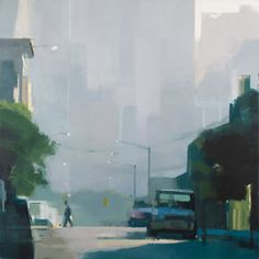 Lisa Breslow > Summer Haze | 40 x 40 inches, oil and pencil on panel