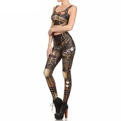 For a rough and tough look, this Gothic Steampunk Leggings and Crop Top will definitely set you apart.  Features lightweight and soft materials, perfect for cos