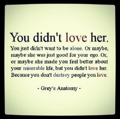 You didnt love her. You just didnt want o be alone. Or maybe, maybe she was just food for your ego. Or, or maybe she made you feel better about your miserable life, but you didnt love her. Because you dont destroy people you love. Great Quotes, Quotes To Live By, Funny Quotes, Inspirational Quotes, Quotes Quotes, Break Up Quotes, Change Quotes, Mr Right Quotes, Wisdom Quotes
