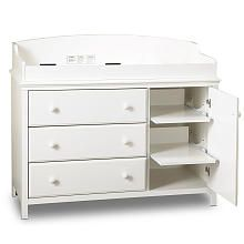 Babies R Us - South Shore Cotton Candy Changing Table with Shelves - Pure White