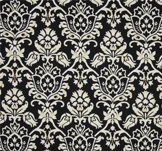 Fabric by the Yard - Indoor / Outoor Fabric - Damask Scroll Ink / Dark Blue...sold by PillowsCushionsOhMy, $12.96