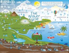The water cycle describes how Earth's water is not only always changing forms, between liquid (rain), solid (ice), and gas (vapor), but also moving on, above, and in the Earth. This process is always happening everywhere. Interactive diagram.