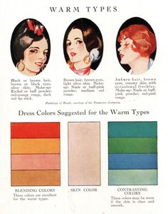 1928 Color For Fashion, warm types | via Pintuck Style