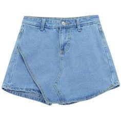 Chicnova Fashion Asymmetric Denim Shorts ($14) ❤ liked on Polyvore featuring shorts, bottoms, denim shorts, asymmetrical shorts, denim short shorts, zipper shorts and jean shorts