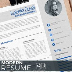 Template Modern - Resumes Stationery, This resume has been designed in an editable way, so you can modify each of its elements. In the top left, you get the logo and the name along with the position to which you aspire or work for the specific company. College Resume Template, Modern Resume Template, Resume Template Free, Templates Free, Job Resume, Resume Tips, Resume Examples, Business Resume, Cv Skills
