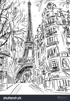 Sketch Book Street in paris -sketch illustration - Pen Sketch, Drawing Sketches, Art Drawings, Paris Kunst, Paris Art, Torre Eiffel Paris, Tour Eiffel, Paris Drawing, Paris Wallpaper