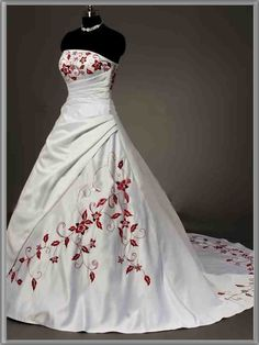 Red And White Corset Wedding Dresses