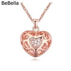Bebella aaa hợp thời trang zircon tim vòng cổ rose gold woman vòng cổ làm bằng với czech pha lê ngày lễ mẹ gift