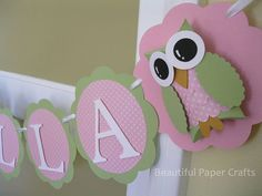 Owl Name Banner  Owl Birthday Party by BeautifulPaperCrafts, $24.00