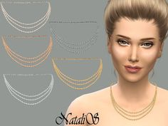 The Sims 4 | NataliS Triple strand necklace | cas accessory jewelry new mesh for female adult