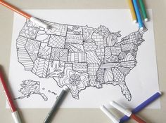 united states america map kids adult coloring di LaSoffittaDiSte  Davlin Publishing #adultcoloring