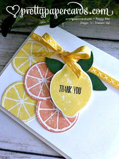 Lemon Zest Thank You! Thanks Card, Lemon Slice, Making Greeting Cards, Embossed Cards, Stamping Up Cards, Card Making Techniques, Paper Cards, Homemade Cards, Citrus Fruits