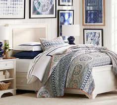 Love this Pia Medallion Quilt & Sham paired with the shibori artwork in this casual bedroom Plum Bedding, Linen Bedding, Bedding Sets, Bed Linens, Table Linens, Pottery Barn, Organic Duvet Covers, Parlor Room, Dresser Sets