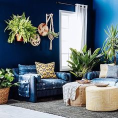 Earthy blues and living greens make this New Boho living room jungaliciously perfect. Room, Living Room Lounge, Colorful Interiors, Boho Living Room, Furniture Collections, Home Decor, Beautiful Living Rooms, Interior Inspo, Dream Rooms