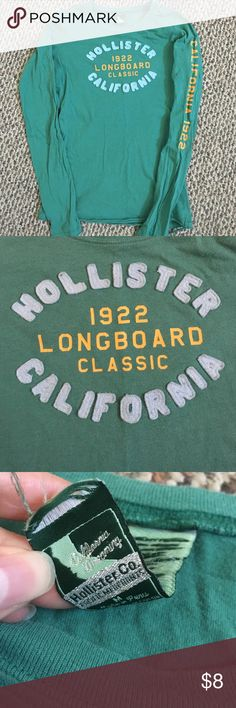"Hollister California Longboard Long Sleeve Tee Lightly worn. Says ""CALIFORNIA 1922"" down the left sleeve. Third pic shows that the tag isn't completely sewn in as it used to be. Fourth pic shows part of the bottom hem that needs to be re-sewn. Hollister Tops Tees - Long Sleeve"