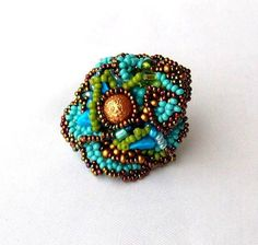 Freeform Beaded Ring, Turquoise Blue Green Brown Gold Colours