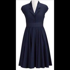 "New Eshakti Navy Fit & Flare Shirt Dress L 14 New Eshakti navy fit & flare shirt dress. Size L 14 Measured flat: underarm to underarm: 39"" waist: 34"" length: 42"" Eshakti size guide for bust Size 14: 40 Fabric covered button front closure, inverted pleats, side zip closure. Layered banded waist, side seam pockets, Cotton, woven poplin, pre-shrunk and bio-finished, light crisp feel. Machine wash Eshakti Dresses Midi"