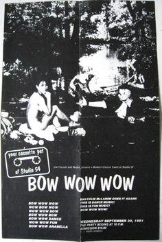 80's punk rock posters | Vintage Studio 54 Bow Wow Wow Poster Rock Memorabilia 80s punk