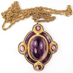 Christian Dior Gold and Amethyst Poured Glass Pendant Necklace