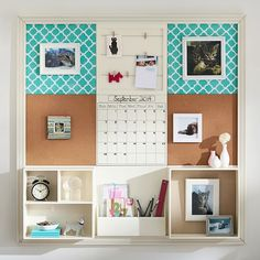 3X3 Pool Clover Style Tile 2.0 Set cork boards, cloth pinboards, open shelves, wire frame, office supplies caddy and eraseable calendar. The ultimate dorm organizer