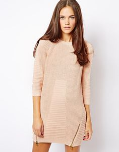 River Island   River Island Jumper Dress With Side Zip Detail at ASOS