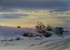 "Photo from album ""Igor on Yandex. Watercolor Sky, Watercolor Landscape Paintings, Watercolor Artwork, Abstract Landscape, Snow Scenes, Winter Scenes, Winter Painting, Winter Landscape, Beautiful Paintings"